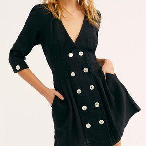 NWT Free People Madeline Button V Neck Black Dress